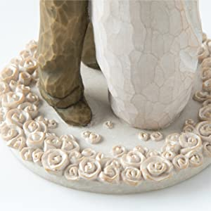 Close up detail of the base of carved flowers.
