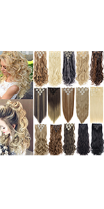 7Pcs 16 Clips Curly Straight Double Weft Clip in Hair Extension Thick Synthetic Hair Extensions