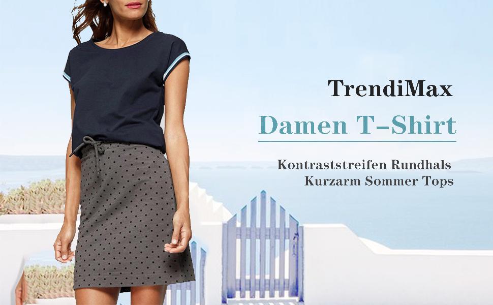 TrendiMax Damen T-Shirt Kurzarm Sportshirt Sommer Oberteil Casual Bluse Tops