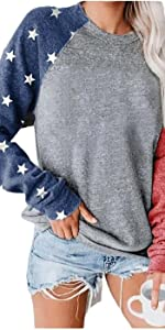 Star Graphic Tops Women Long Sleeve Pullover Flag T Shirts Raglan Sleeves Sweatshirts