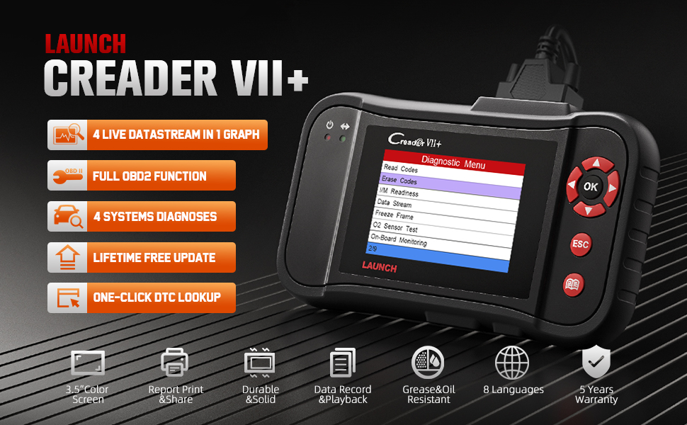 launch creader vii+ obd2 scanner scan tool code reader creader diagnostic tools abs srs launch x431