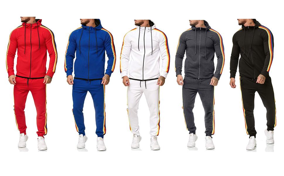 men's athletic full zip jogger sweatsuit