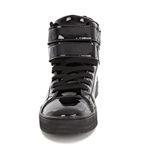Alexandra Front Sneaker, Glossy Black Sneaker, Black Sneacker