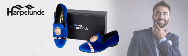Blue Velvet Loafers for Mens