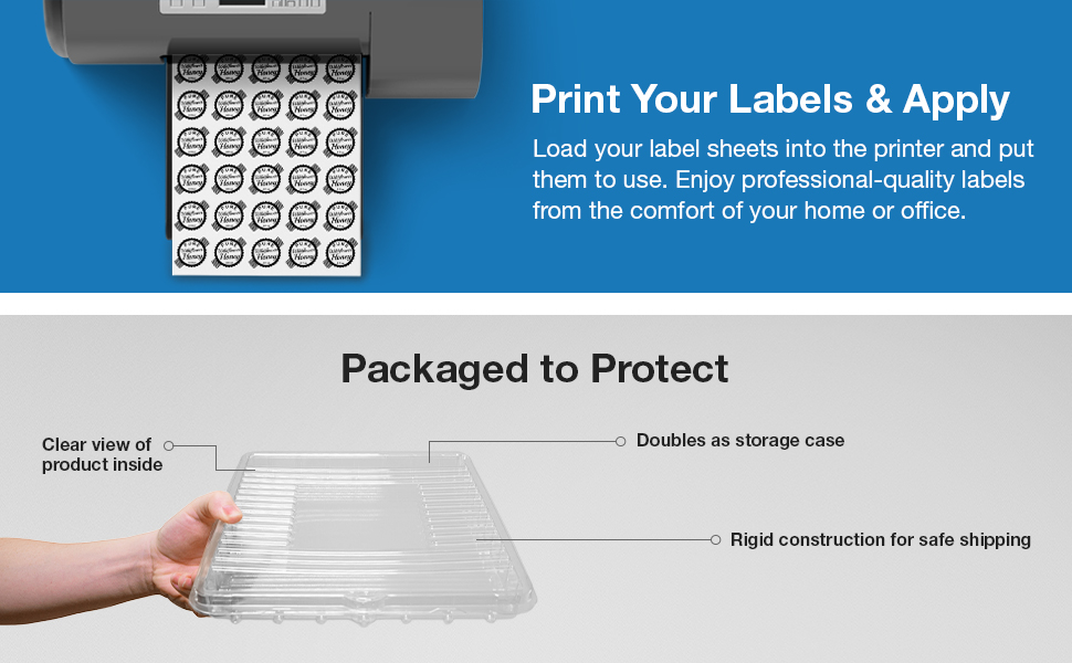 print labels at home clamshell safe storage protected shipping