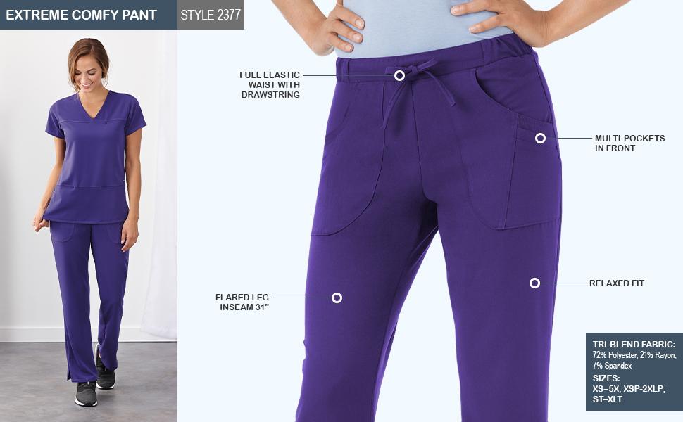 jockey style 2377 women's comfy scrub pant infographic