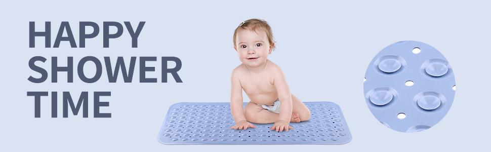 bathtub mat shower tub bath kids non slip plastic anti extra large clear suction cup soft rubber