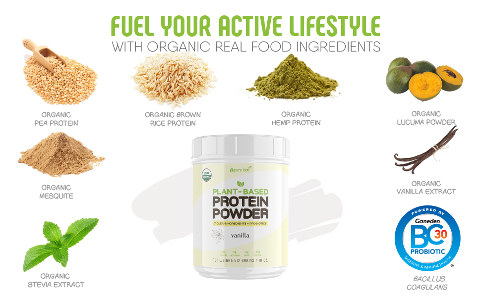 pure food vanilla plant based protein powder ingredients