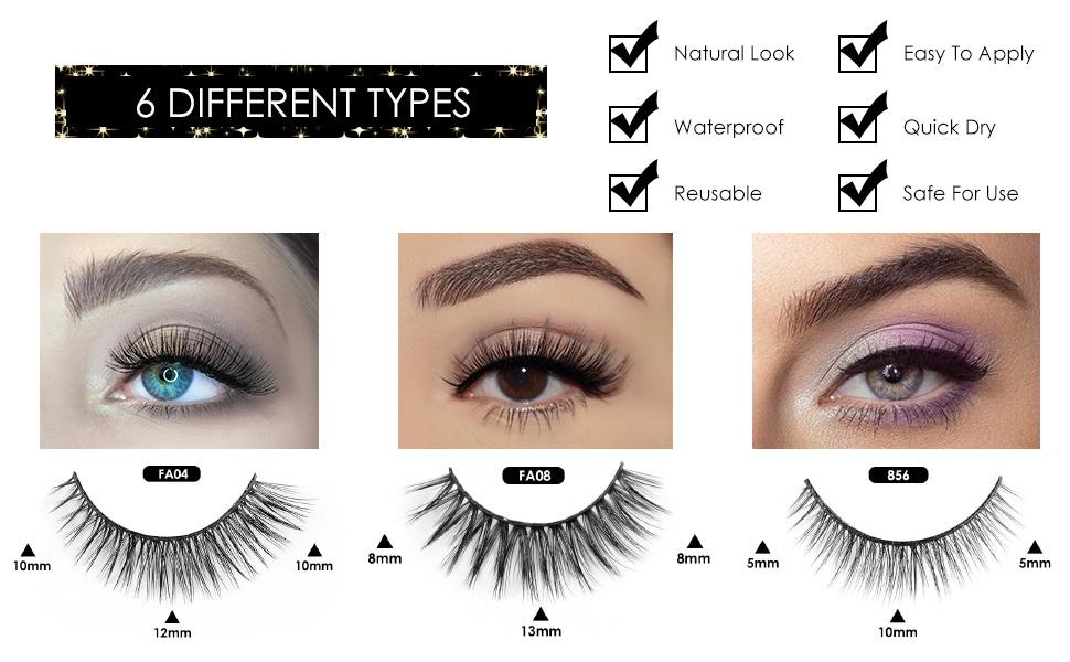 3D Magnetic Lashes and Eyeliner Portable Kit, Luxurious Fake Eyelashes 6 Pairs, Magnet Eyeliner