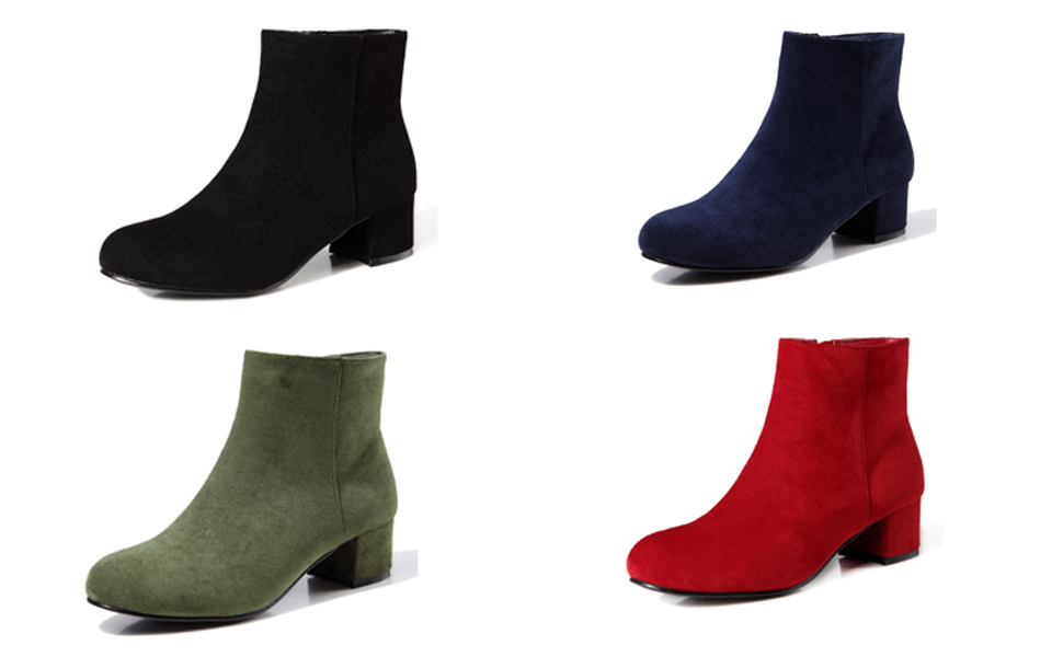 Womens Ankle Booties Low Heel Zipper Round Toe Hollow out Faux Suede Winter Warm Western Shoes