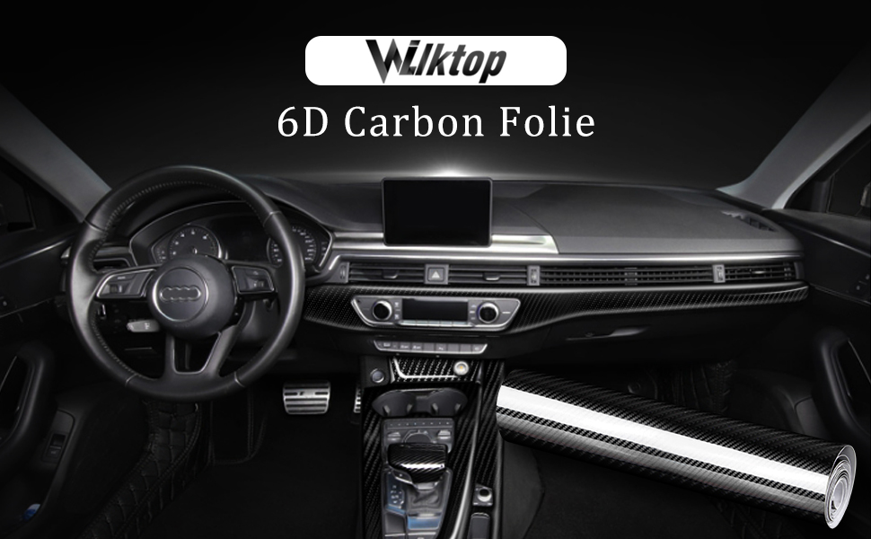 Wilktop 6d Carbon Folie Hochglanz 6d Autofolie Carbon Vinyl Auto Folie Car Wrapping Folie 0 16mm Autofolie Schwarz 30 X 300cm Auto