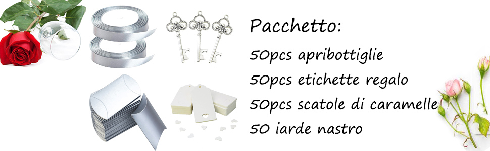 bomboniere 50 Vintage chiave scheletro chiave matrimonio apribottiglie chiave bomboniere argento