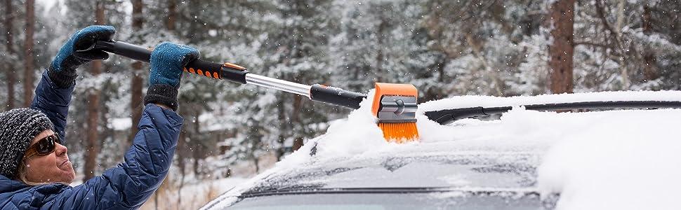 """Amazon.com: BIRDROCK HOME Snow Moover 60"""" cepillo extensible de nieve y  raspador de hielo para coche o camión – agarre de espuma – cabeza de cerdas  suaves – cuerpo de aluminio duradero –"""