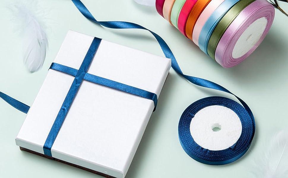 10mm 3/8 inch mixed colors satin ribbon roll fabric silk ribbon
