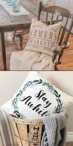 farmhouse decorative throw cushion pillow covers sham case decor cottage living linen cotton