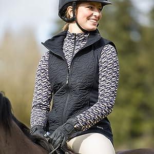 unbridled horse quilted vest black