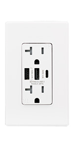 wall outlet socket charger plug with usb-c charger