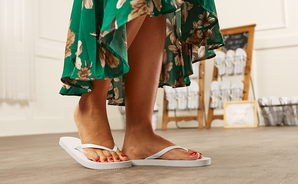 White Flip Flop ballroom dance reception wedding guest bulk display sandals