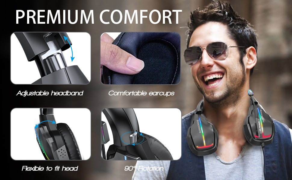 Gaming Headset PS4 Stereo Headset Xbox One Wired Headphones with RGB LED Lights, 50mm Driver