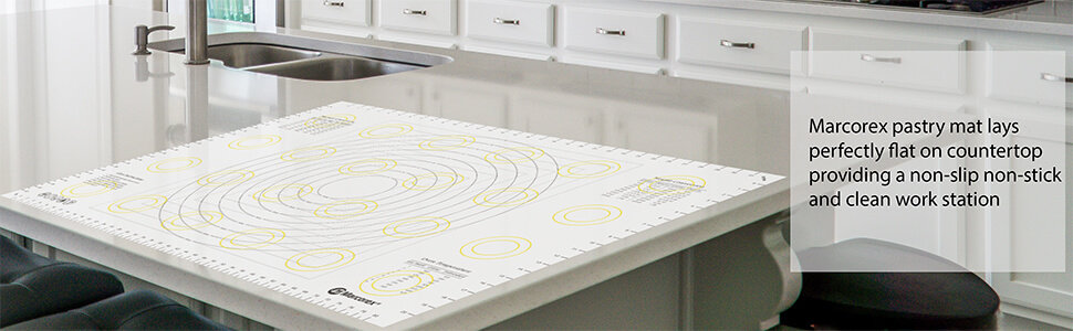 Kitchen Countertop with XXL Large Pastry Mat