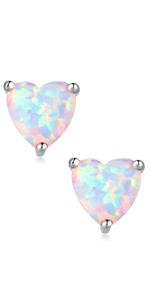 Heart Shaped Opal Earrings