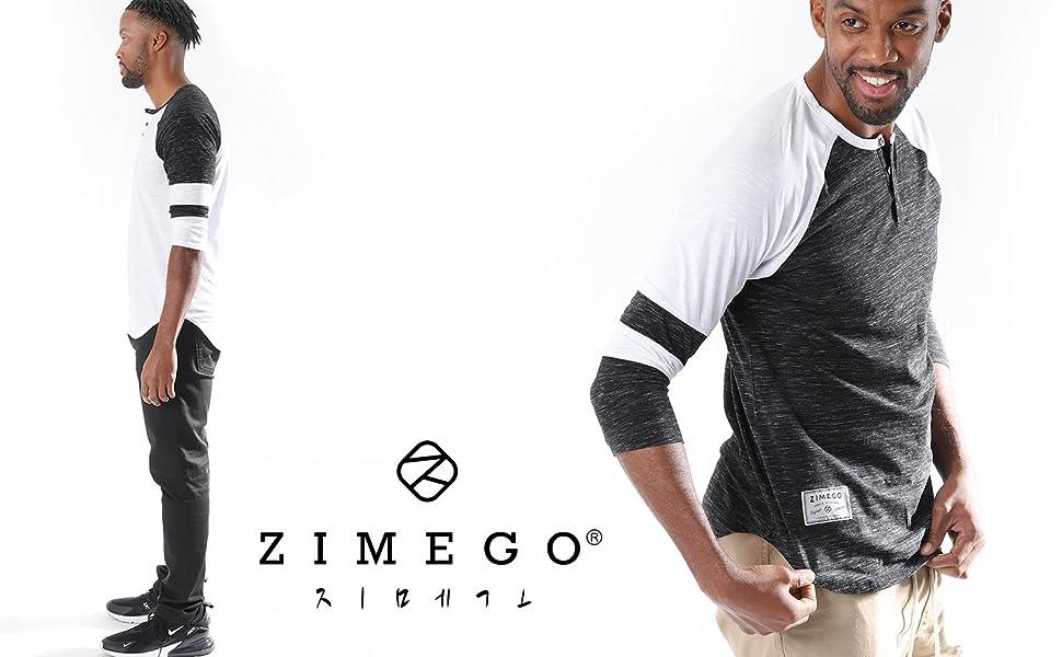 Zimego model wearing athletic quarter 3/4 sleeve henley