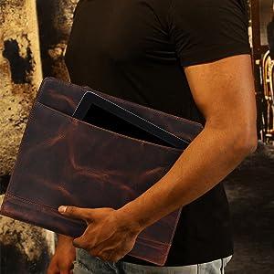 Interviews business Padfolio Portfolio Briefcase Style Organizer Folder Notepad holder Real Leather