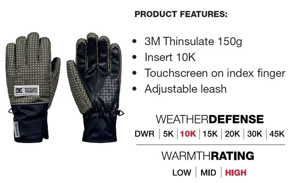 DC Franchise Snowboard Gloves Mens Sz S Kelp