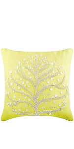 The Homecentric Decorative Pillow Covers 18x18 Inch 45x45 Cm Yellow Sequins Beaded Sparkly Glitter Pillow Cases Square Silk Pillows Cover Contemporary Pillow Cases Pearly Yellow Home Kitchen