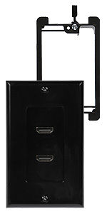 hdmi double wall plate black with bracket