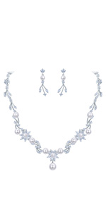 pearl wedding jewelry set for bride