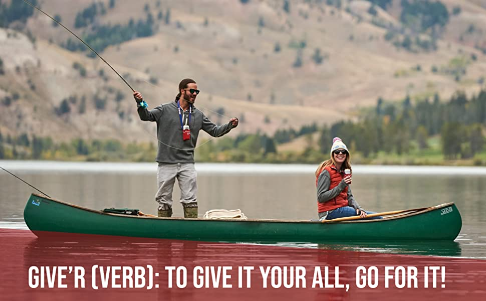 give'r, neck, coozie, fishing, adventure, outdoors, canoeing, hands free