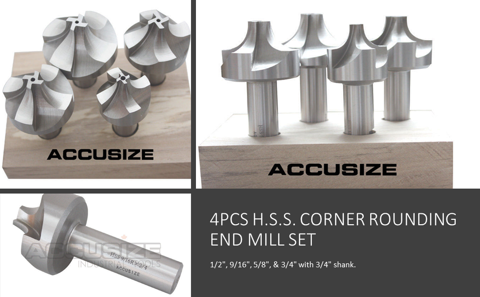 Accusize Industrial Tools 4 Pc H.S.S Corner Rounding End Mill Set Size from 1//2 to 3//4 1011-0004