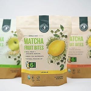 Lemon pouch center, two pouches behind, matcha fruit bites