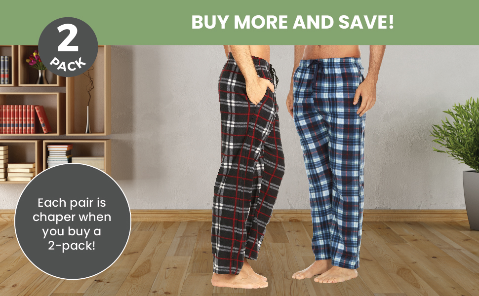 Buy more pairs and save for 2 pack mens pajama lounge pants