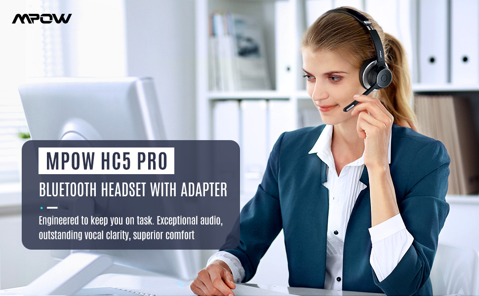 Mpow HC5 Pro Business Bluetooth Headset With Adapter