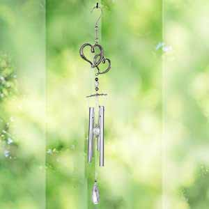 Ashman 17 inch Wind Chime with Double Heart Deep Tone Sympathy Wind Chimes with 4 Copper Vein Tubes