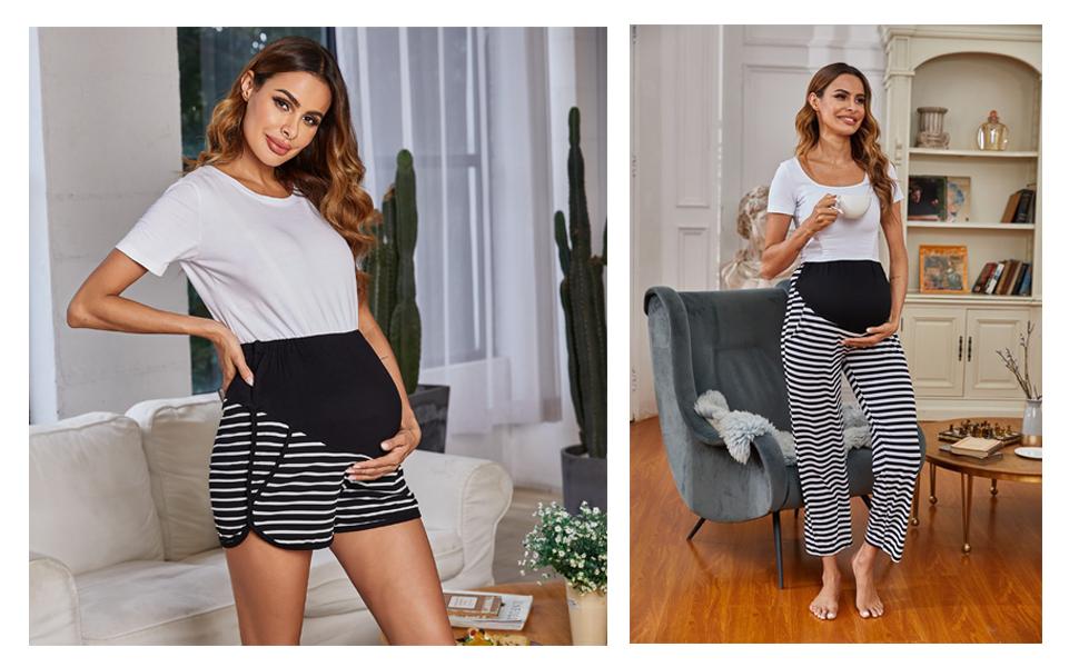 maternity shorts and maternity lounge pants
