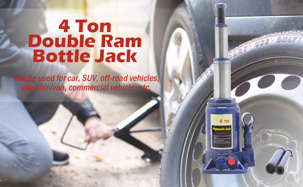 Total Height 15.69in BAOSHISHAN 4 Ton Double Ram Bottle Jack Portable Hydraulic Car/ Jack with Carrying Case