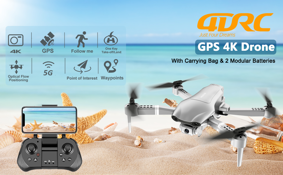 GPS Drone  4DRC F3 GPS Drone 4K with FPV Camera Live Video,Foldable Drone for Adults,RC Quadcopter for Beginners,with Auto Return Home, Follow Me,Dual Cameras,Waypoints, Long Control Range,1 Extra Battery+Pack f177eb5a cafb 4871 9385 64360a4c83fb