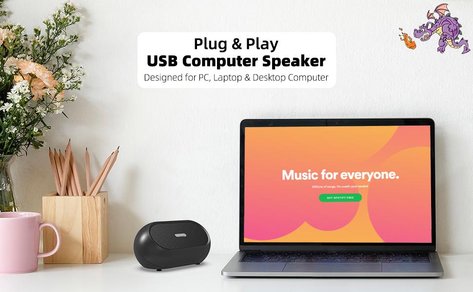 Plug & Play, USB Powered Computer Speaker
