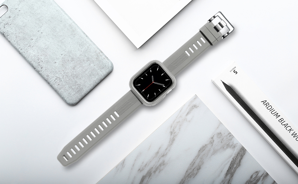 BesBand Compatible with Apple Watch Bands 44mm 42mm, Silicone Waterproof Sport Band Loop with Case