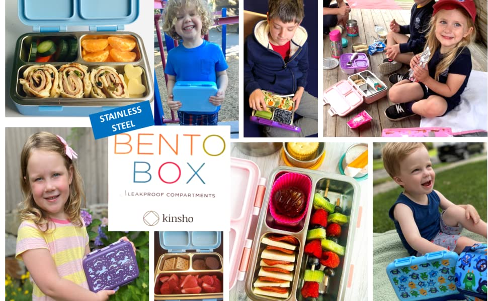 kinsho metal eco bento box lunch boxes bentos containers sets for kids toddlers children adults