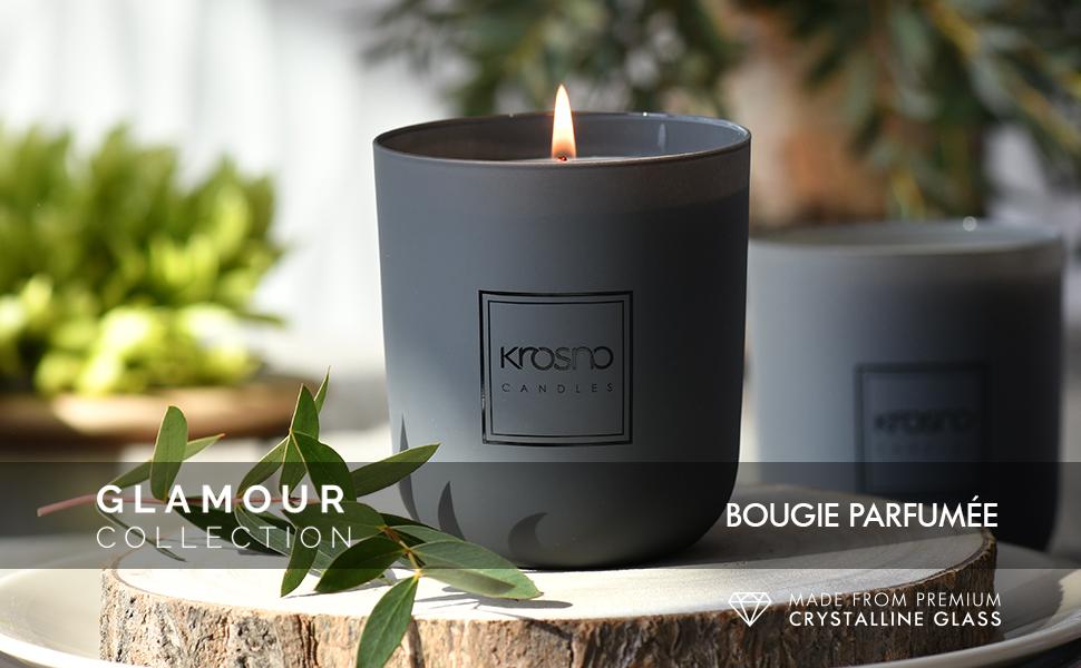Krosno Candles Bougie au Soja Id/éale pour Maison /& comme Cadeau Parfum/ée et /Él/égante 250 g Senteur Basil Mandarin 33 h de Combustion