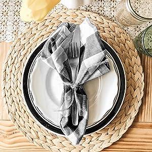 black checkered napkins