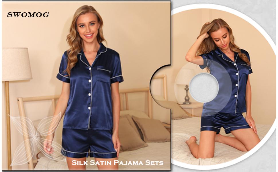 womens silk satin pajamas