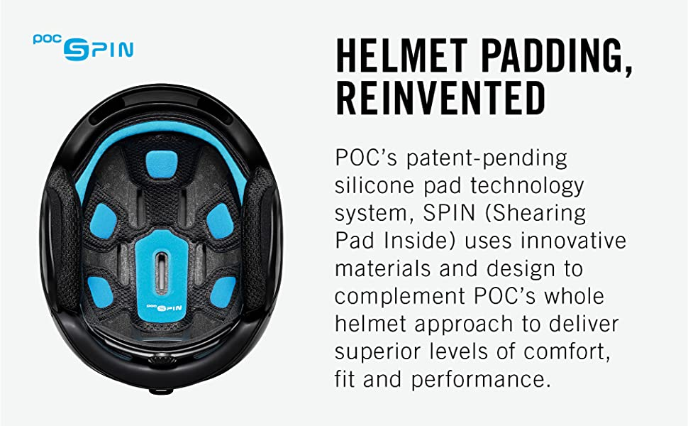 POC's patent-pending silicone pad technology system, SPIN, uses innovative materials