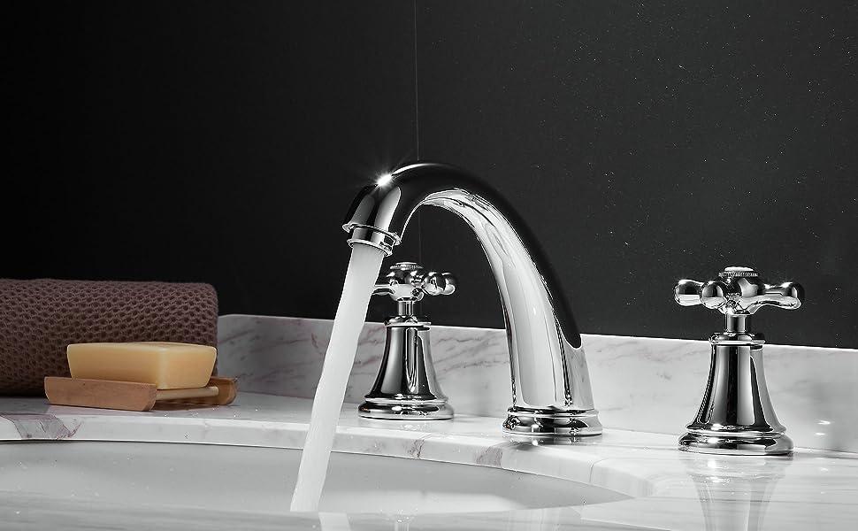 3 Hole Lavatory 2 Handles Widespread Bathroom Faucet
