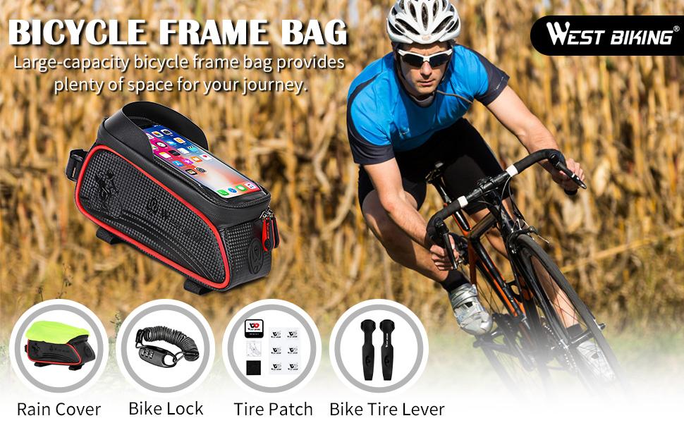 bike rucksacks panniers bicycle frame bags cycling front panel head tube pocket cycling bag bicycle