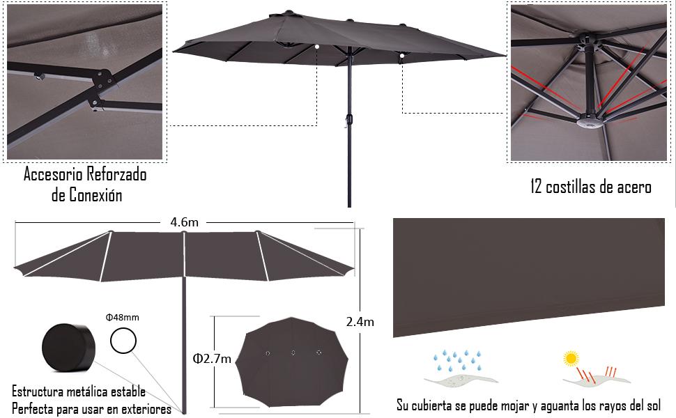 Outsunny Sombrilla Parasol Doble para Jardín Carpas Toldos de ...